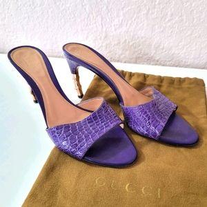 Gucci Purple Croc Embossed Bamboo Heel 6.5 B